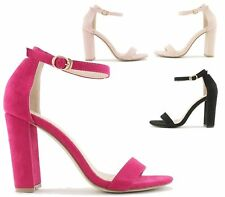 WOMENS BLOCK HEEL ANKLE BUCKLE SANDALS LADIES CUT OUT PEEP TOE PARTY SHOES SIZE
