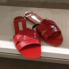ZARA NEW S/S 2018. RED LEATHER CROSSOVER FLAT SANDALS. REF 2641/301.