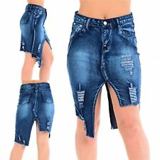 Womens Ladies Ripped Cut Out High Waisted Denim Zip Up Raw Edge Jeans Mini Skirt
