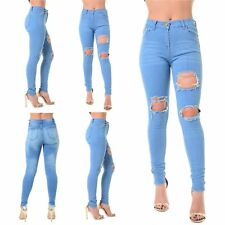 Womens Ladies Destroyed Knee Rip Distressed Straight Slim Denim Jeans Trousers