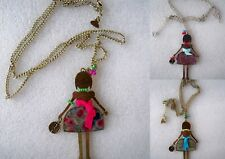 COLLANA LUNGA BAMBOLINA CIONDOLO DOLL METALLO SMALTATO FASHION LONG NECKLACE
