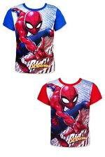Boys Spiderman Short Sleeve t shirt Kids Printed Cotton T-Shirt Top Tee Age 3-8Y
