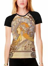 Alphonse Mucha Zodiac Women's All Over Graphic Contrast Baseball T Shirt