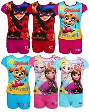 Girls Paw Patrol Ladybug Frozen Shorty Pyjamas Summer Short Pyjamas Pjs Age 3-10