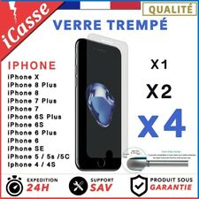 LOT4 VITRE PROTECTION VERRE TREMPÉ FILM PROTECTEUR ÉCRAN IPHONE 8/7/6/S/PLUS/X/5