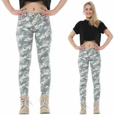Jean Skinny Stretch Camouflage Militaire  Pantacourt - Vert Clair
