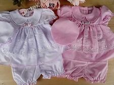 Broderie Anglaise Baby Traditional 3Pcs Set White Pink Dress & Bloomers 0-3-6-9m