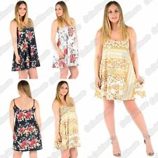New Ladies Sleeveless Floral Printed Cami Swing Flared Strappy Summer Dress Top