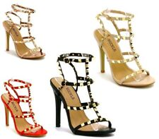 New Womens Studded Ankle Strap High Heels Rivet Gladiators Pointy Sandals Shoes