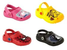 BOYS GIRLS CHARACTER BEACH CLOGS SUMMER SANDALS FLAT SLIP ON SHOES UK SIZE 5-12