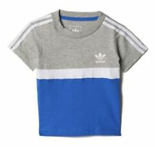boys adidas Originals 3 stripe Trefoil logo infants t-shirt tee 100% cotton