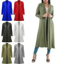 Womens Longline Pockets Ladies Open Front Duster Long Sleeve Coat Cardigan Top