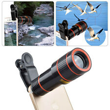 Clip-on 12X 8X Optical Zoom Telephoto Telescope Camera Lens Universal