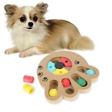 Cat Play IQ Fun Toy Pet Dog Interactive Wooden Food Dispensing Puzzle Plate Toys