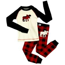 LazyOne Unisex Moose Plaid Kids PJ Set Long Sleeves