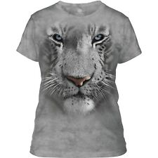 The Mountain Ladies Adult White Tiger Face Animal T Shirt