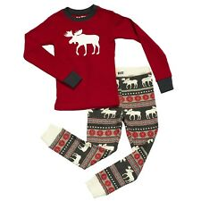 LazyOne Unisex Moose Fair Isle Kids PJ Set Long Sleeves
