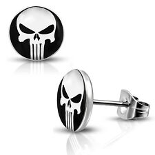 Stainless Steel Punisher Skull Round Circle Button Stud Post Piercing Earrings