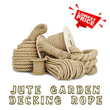 Natural Jute Rope Twisted Hessian Braided Decking Garden Boating Sash 6-40mm HQ