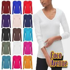 New Ladies Plain V Neck Basic Long Sleeve Jersey Stretchy Casual T-Shirt Tee Top