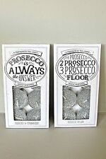 NEW PROSECCO TEALIGHTS SILVER SPARKLY GLITTER SCENTED TEA LIGHTS GIFT PRESENT