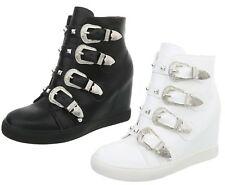 New Ladies Womens Wedges Trainers Sneakers Ankle Boots Shoes Hi High Top Size