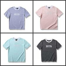 Casual Men's Thrasher Tee Striped Round Neck Summer New T-Shirts Cotton S-XXL