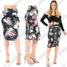 New Ladies Floral Print High Waist Pencil Bodycon Tube Wiggle Summer Midi Skirt