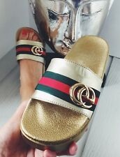 WOMENS GIRLS NEW GOLD SILVER WEDGE GG SLIDERS SUMMER HOLIDAY SHOES SIZE 2,3,4,5,