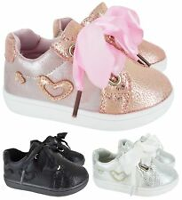 KIDS GIRLS INFANTS CHILDREN WALKING RUNNING RIBBON LACE GLITTER TRAINERS SZ 3-1