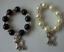 Scarf Ring Toggle (Medium) Charm Cat Pearl Black Cream Silver Beads + Gift Bag
