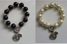 Scarf Ring Toggle (Large) Charm Cat Pearl Black Cream + Silver Beads