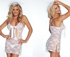 Coquette White Lace Bridal Chemise W/Ribbon Opening & Veil Wedding Lingerie
