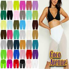New Ladies Plain Over Knee Short Stretchy Dance Active Sports Gym Cycling Shorts