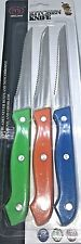 3 x Steak Knife Set Knives Stainless Steel Colourful Plastic Handle Serated