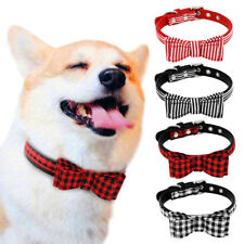 Dog Collar Leash Faux Leather Collar WIth Fabric Bow for Small Puppy Cat XS-M