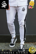 SINNERS White Track Poly Joggers - Sinners Attire Gym Tracksuit Joggers