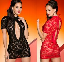 Avanua Sexy Black Or Red Open Front Lace Rika Chemise/ Beach Mini Dress 8-20