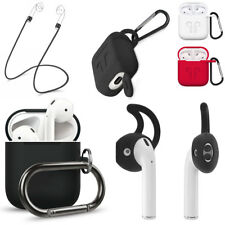 Rubber Charging Case with Strap & Ear Hooks Holder For Apple Airpods