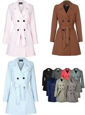 LADIES WOMENS NEW DOUBLE BREASTED TRENCH MAC COAT BELTED JACKET UK MAKE 10-24