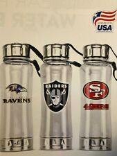 CLIP-ON WATER BOTTLE - DURABLE CLEAR PLASTIC & STAINLESS STEEL W  POP UP SPOUT