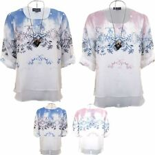 Womens Turn Up 3/4 Sleeve Chiffon Lined Butterfly Layered Top Plus Size Blouse