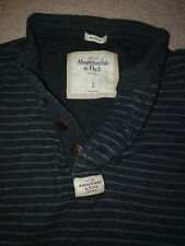 ABERCROMBIE AND FITCH MENS GREY STRIPE LONG SLEEVE SHIRT SIZE LARGE MUSCLE FIT.