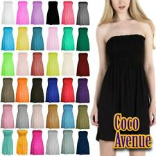 New Ladies Sheering Boobtube Bandeau Strapless Plain Ruched Vest Top Mini Dress