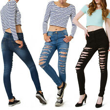 Womens High Waisted Skinny Fit Jeans Ripped Ladies Jeggings 6 8 10 12 14 16 18
