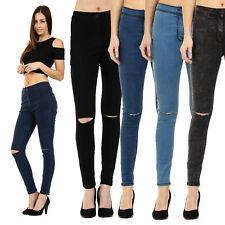 New Womens High Waisted Ripped Stretchy Skinny Jeans Ladies Jeggings Sizes 6-18