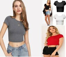 WOMENS LADIES PLAIN SHORT SLEEVE CROP TOP T-SHIRT VEST ROUND NECK STRETCH STRICT
