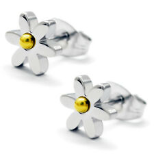 Stainless Steel Daisy Flower Two-Tone Floral Stud Button Post Piercing Earrings