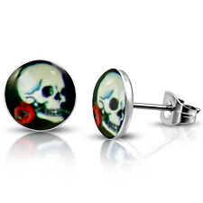 Stainless Steel Vintage Day of the Dead Skull Red Rose Button Stud Post Earrings