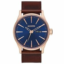 Nixon Sentry Leather Mens Watch - Rose Gold Navy Brown One Size